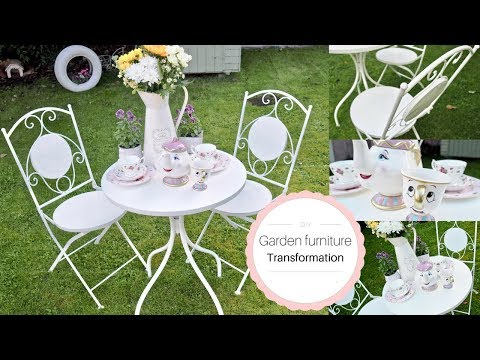 How to Paint metal garden furniture, French shabby chic style   DIY