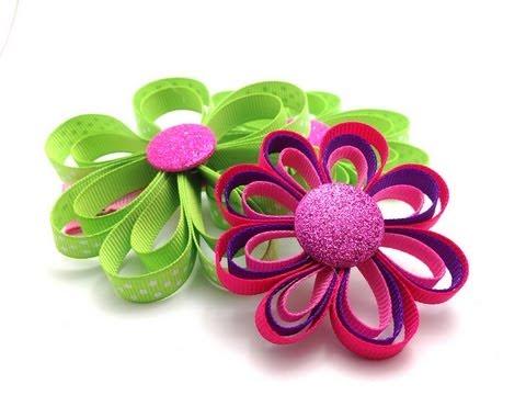 Ribbon Flower Hair Clip Tutorial DIY