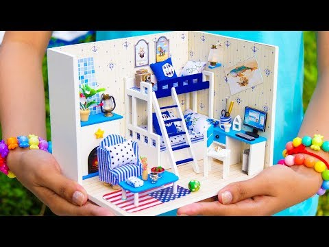 DIY Miniature Doll House American Bunk Bed Bedroom