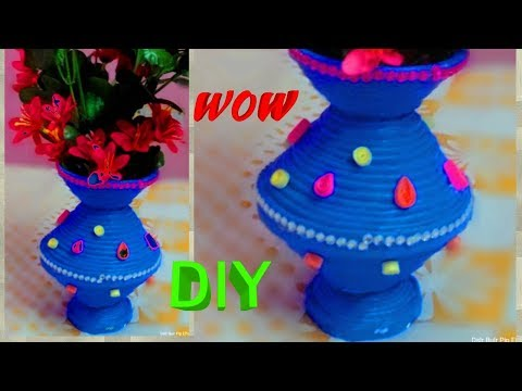How to make flower pot with newspaper,Best out of waste. |  DIY || art with neha ||