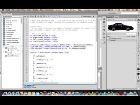 Flash AS3 tutorial for beginners - Car moving with Arrow keys and letters keys