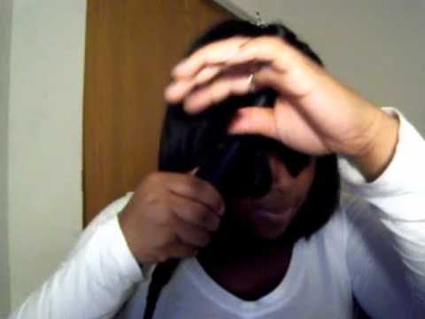 How I Curl/Flip my bang with a flat iron (bob sew in)