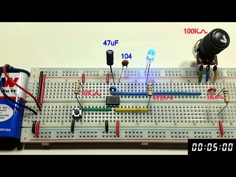5 second Variable Monostable multivibrator using 555 timer in Tamil & English,tamil electronics