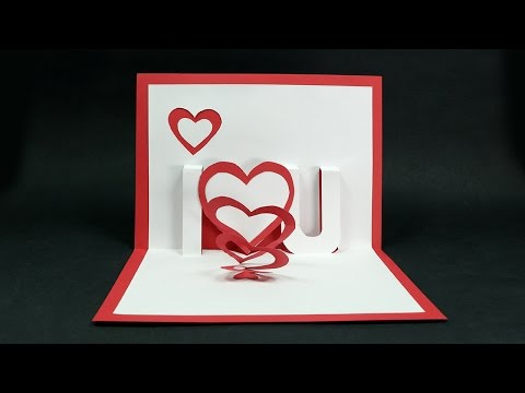 Handmade Valentine's Day Card - DIY 'I Love You' Pop Up Heart Love Card Tutorial