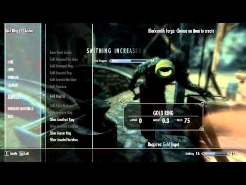 Skyrim 1.7 Smithing, Enchanting, Alteration and easy money