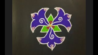Rangoli Design With Colours For Festivals And Competitions With Dots