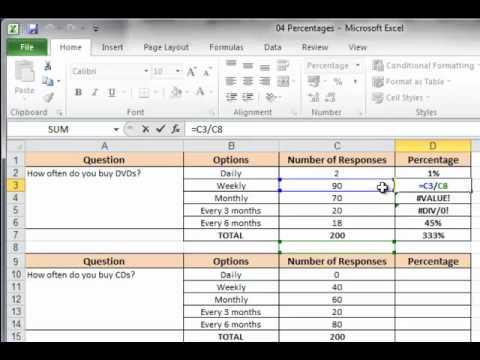 Excel 2010 - Percentages