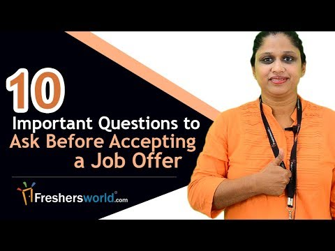 10 Important Questions to Ask Before Accepting a Job Offer - Interview tips, Freshersworld video