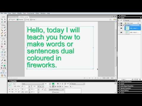 How to make text dual coloured in Macromedia Fireworks