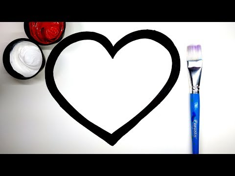How to Draw thick heart cake numbers butterfly, coloring heart w paint, learn to color with painting