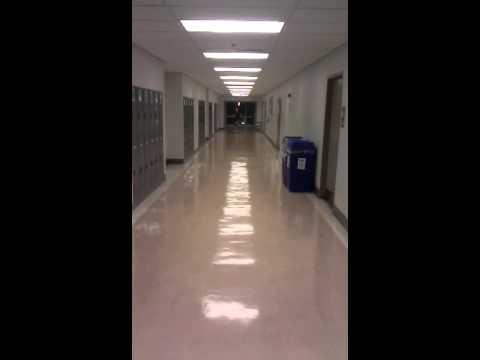 Newly waxed floor.