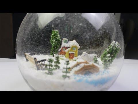 DIY Miniature Winter Scene with Snow Falling in a Glass Jar