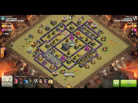 Clash of Clans TH9 vs TH9 Lava Hound, Balloon & Minion (Lavaloonion) Clan War 3 Star Attack