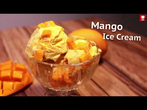 Mango Ice Cream | Homemade Mango Ice Cream | Eggless Mango Ice Cream Recipe