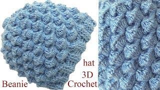 Gorro a Crochet en punto conchitas 3D tejido tallermanualperu 8fec81efad1