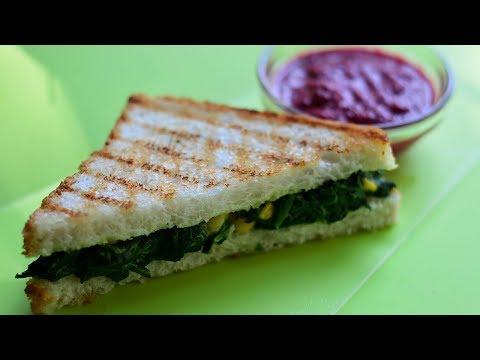 Spinach and Corn Sandwich | Cheese Sandwich @ Guru's Cooking