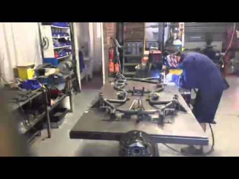 BRK dirt kart frame construction on factory jig