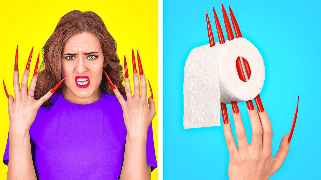 LONG HAIR AND LONG NAIL PROBLEMS || Awesome Situations In Real Life by 123 GO!