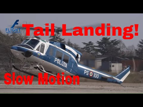 Helicopter Tail Landing in Slow Motion - Agusta Bell AB 212 Twin Huey of Italian Police