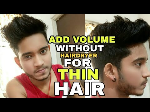How to add volume in thin hair | Messy quiff hairstyle for thin hair | No hairdryer hair styling