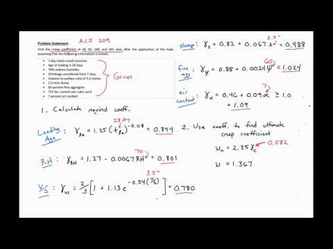 4 - Example Problem Finding Creep Coefficient Using ACI 209