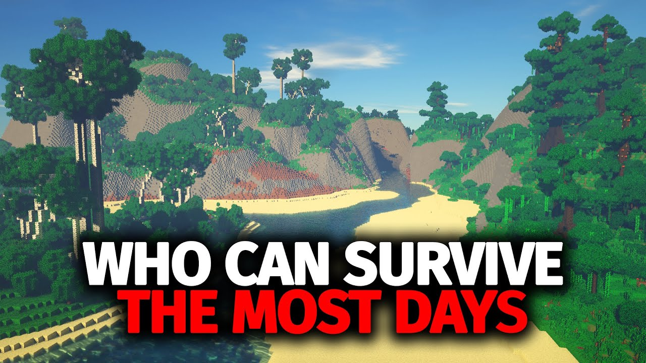 Whoever Can Survive The Most Days On Their Deserted Island in Hardcore Minecraft Wins