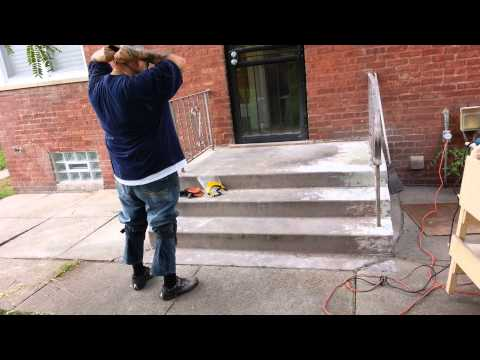 Taking paint off concrete steps