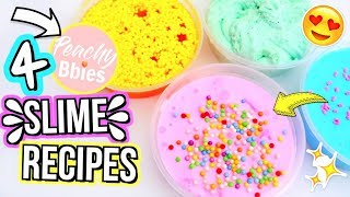 4 DIY FAMOUS INSTAGRAM SLIME RECIPES! How To Make Peachybbies Slimes Tutorial!