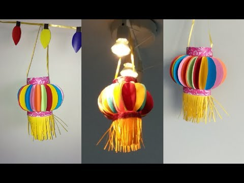 How to make paper lantern | akash kandli | diy diwali decor |kids crafts for diwali | paper crafts