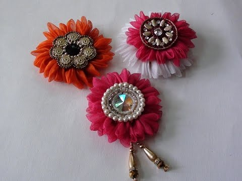 Do it yourself  fabric flower brooch