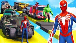 SPIDERMAN Superheroes Service Cars GTA 5 Mega Ramp Challenge Funny Moments