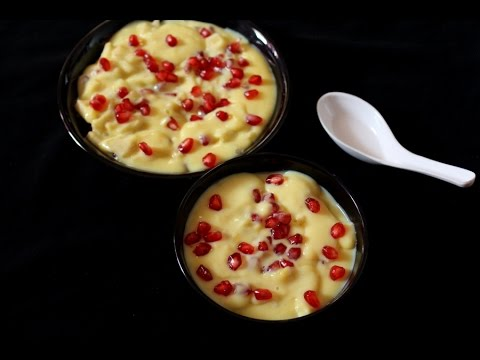 fruit custard recipe-how to make fruit custard with custard powder-mixed fruit salad with custard