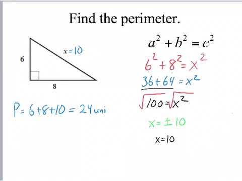 Using Pythagorean Theorem to find Area & Perimeter