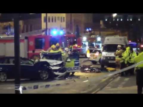 Newcastle city centre crash involving police car puts two officers in hospital