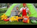 Car For Kids Construction Vehicles Toy Excavator Dump Truck Dave Mario And Brother Go Camping