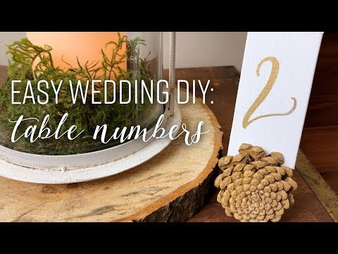 Easy Wedding Reception DIY: Hand Lettering Simple Table Numbers for Woodland Rustic Centerpieces