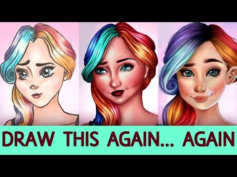 DRAW THIS AGAIN... AGAIN!? #1 | Girl with Rainbow Hair | Jenna Drawing