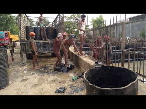 How to store tarcoal bitumen load and transport for making road    its a hard work