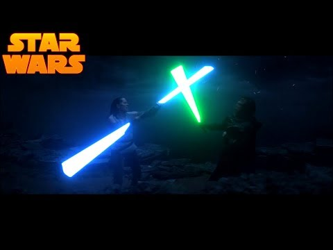 Rey Fights Luke with A Double Bladed Lightsaber