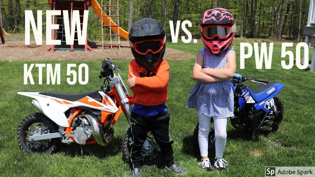 The kids get a new KTM 50 Mini dirt bike vs. Yamaha PW 50