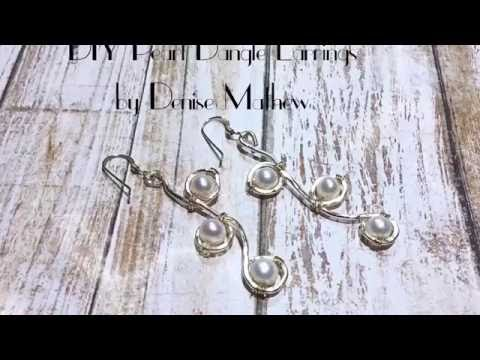 DIY Pearl and Wire Dangle Earrings by Denise Mathew