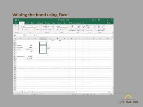 Bond valuation using Microsoft Excel