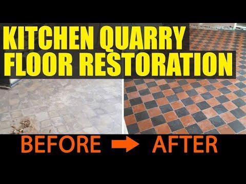 Quarry Tile Kitchen Floor Restoration Cheshire