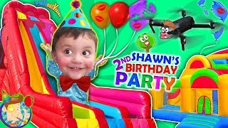 Shawn's 2nd Birthday Party! BOUNCE HOUSE Inflatable Outdoor Playground Giant Slides FUNnel VIsi
