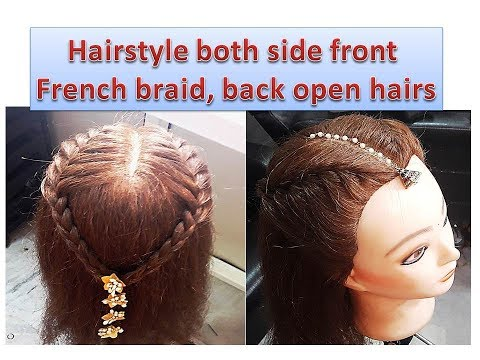 Hairstyle - both side front french braid, back open hairs - easy college going/simple function style