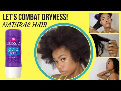 NATURAL DRY BRITTLE HAIR REMEDY | AUSSIE 3 minute miracle best treatment for natural hair