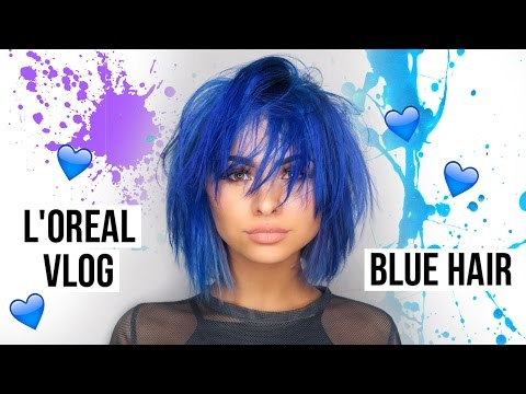 BLUE HAIR TRANSFORMATION / L'OREAL EVENT VLOG   Talia Mar
