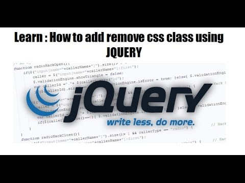 How to add or remove css class from html element using jquery - JQUERY TRAINING CLASSES