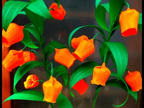 How to make Easy Paper Flowers Christmas Bells / Sandersonia ( flower # 94)