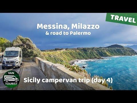 Campervan roadtrip travel in Sicily. Messina, Milazzo & road to Palermo. Vanlife in Italy